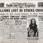 Newspaper headline detailing great depression